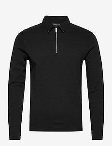 SLHJASON ZIP LS POLO B EX - long-sleeved polos - black