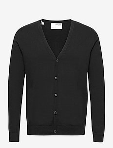 SLHBERG LS KNIT V-NECK CARDIGAN  B EX - basic knitwear - black