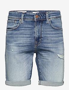 SLHALEX 672 M. BLUE SU-ST DENIM SHORTS U - denim shorts - medium blue denim