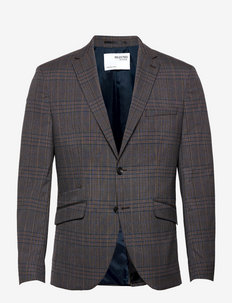SLHSLIM-TIMELOGAN GREY MULCHK BLZ B - single breasted blazers - grey