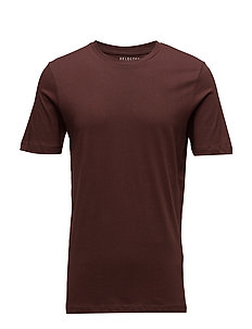 SLHTHEPERFECT SS O-NECK TEE B NOOS - BITTER CHOCOLATE