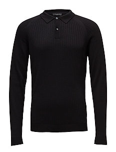 SLHFRANK RIB POLO NECK B - BLACK