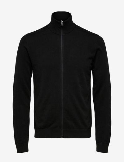 SLHBERG FULL ZIP CARDIGAN B - podstawowa odzież z dzianiny - black