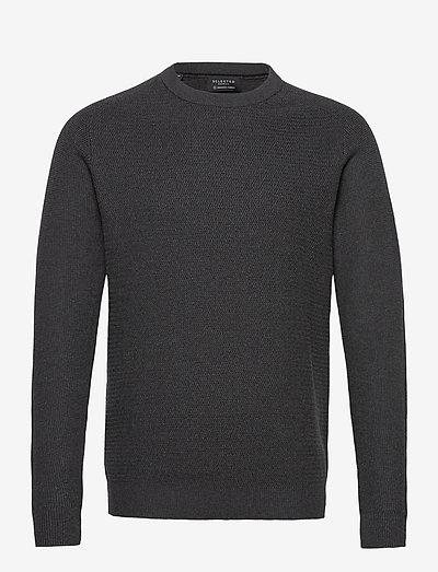 SLHCORNELIUS STRUCTURE CREW NECK W - tricots basiques - antracit