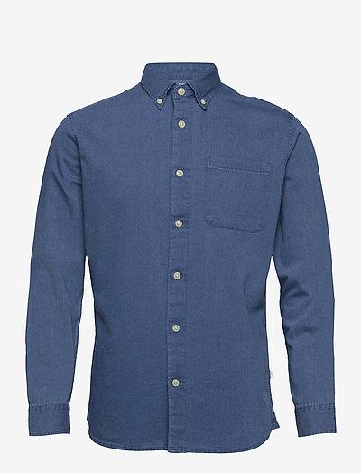 SLHREGRICK-DENIM SHIRT LS U - checkered shirts - medium blue denim