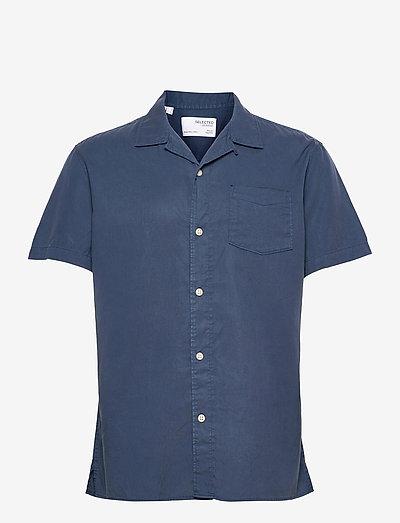 SLHREGSOFT CUBAN SHIRT SS W - koszule w kratkę - insignia blue