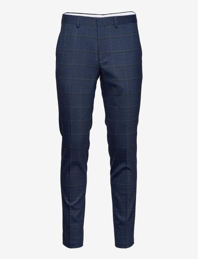 SLHSLIM-MYLOSTATE FLEX BL GRY CHK TRS B - pantalons habillés - dark blue