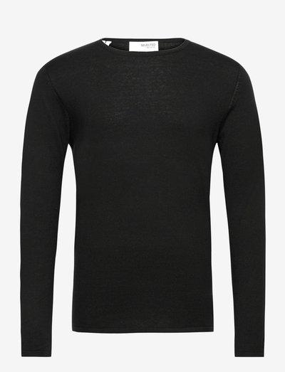 SLHROME LS KNIT CREW NECK - knitted round necks - black