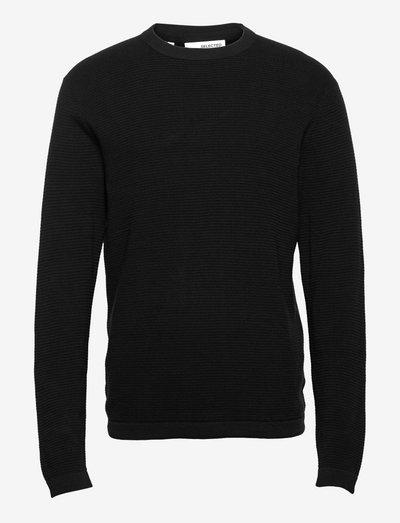 SLHROCKS LS KNIT CREW NECK - knitted round necks - black
