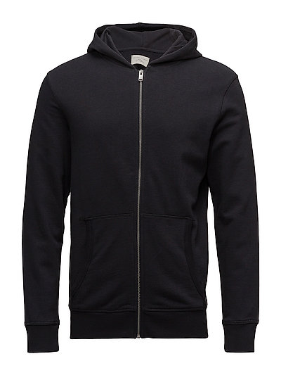 SLHSIMON ZIP HOOD SWEAT W NOOS - BLACK BEAUTY