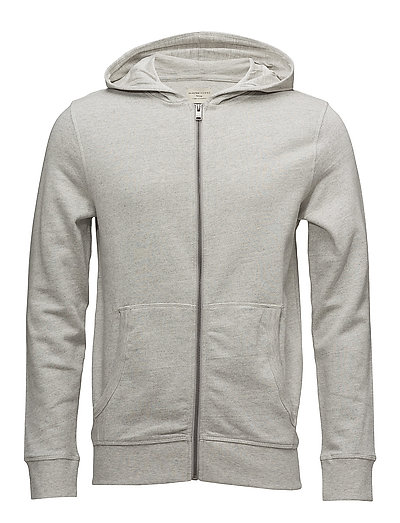 SLHSIMON ZIP HOOD SWEAT W NOOS - LIGHT GREY MELANGE