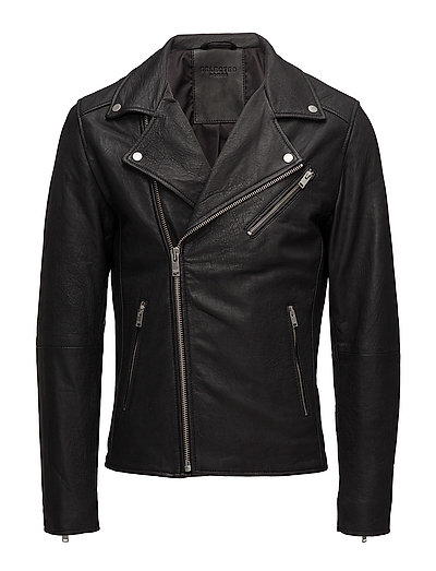 SHNSCOTT LEATHER BIKER JACKET CAMP - BLACK
