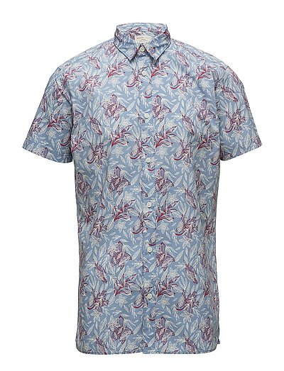 SHHONEKARL PRINT SHIRT SS AOP - DUSTY BLUE