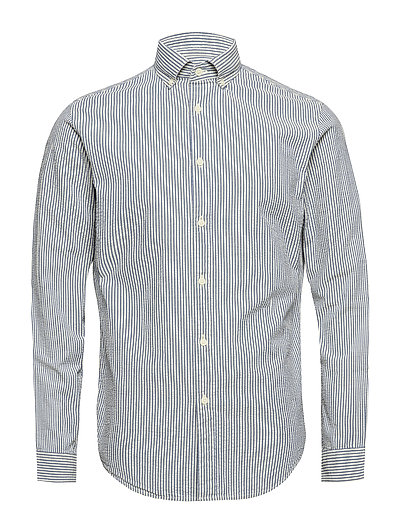 SHHTWOOLIVER SHIRT LS SEERSUCKER - BLUE ASTER