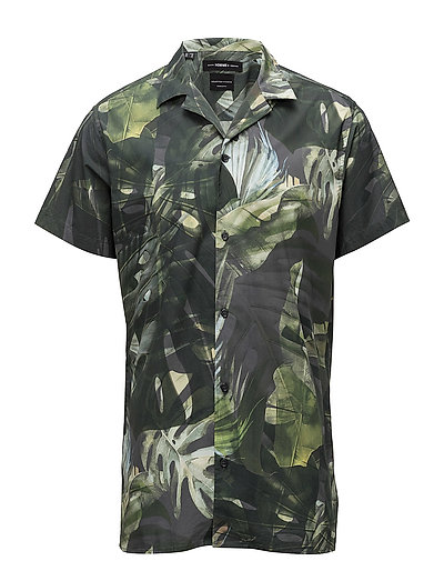 SHXTWOCOREY-CUBAN SHIRT SS AOP - HUNTER GREEN