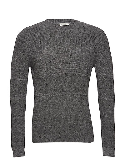 SLHMORRET BUBBLE CREW NECK W - DARK GREY MELANGE