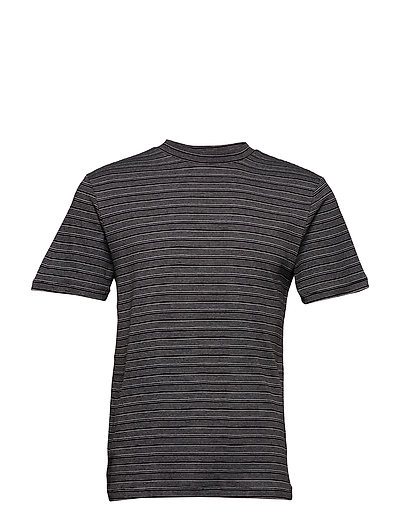 SLHMARTIN STRIPE SS HIGH NECK TEE B - BLACK