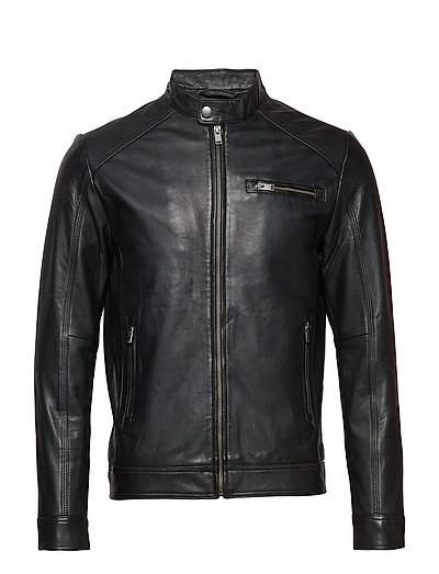 Slh C-01 Classic Leather Jacket W Noos Lederjacke Schwarz SELECTED HOMME