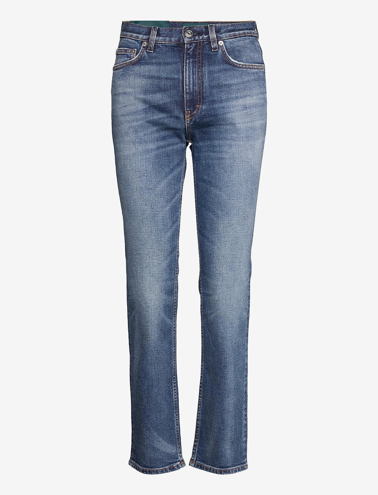 Self Cinema - Womens Slim Straight Jean Embroidered - straight regular - mid blue vintage - 0