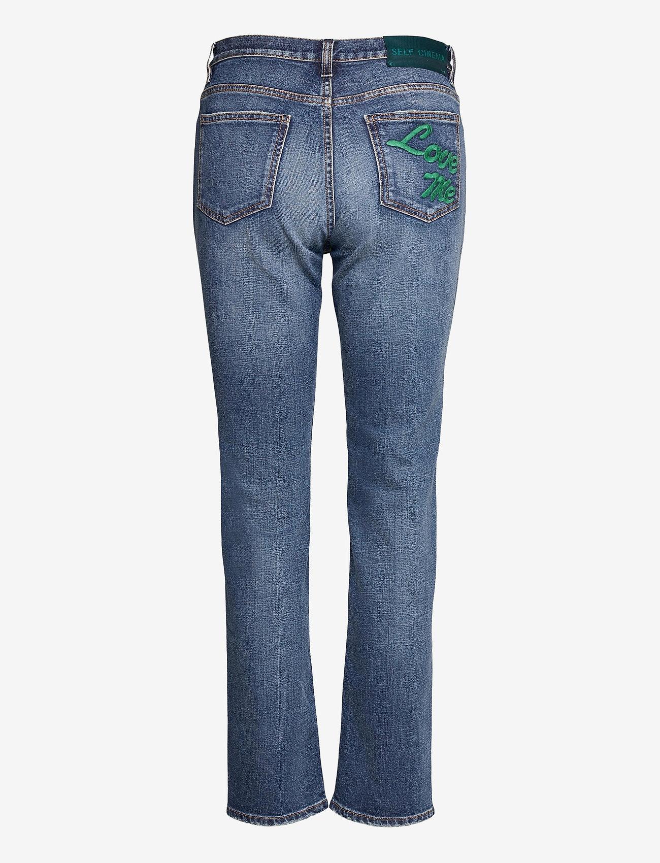 Self Cinema - Womens Slim Straight Jean Embroidered - straight regular - mid blue vintage - 1