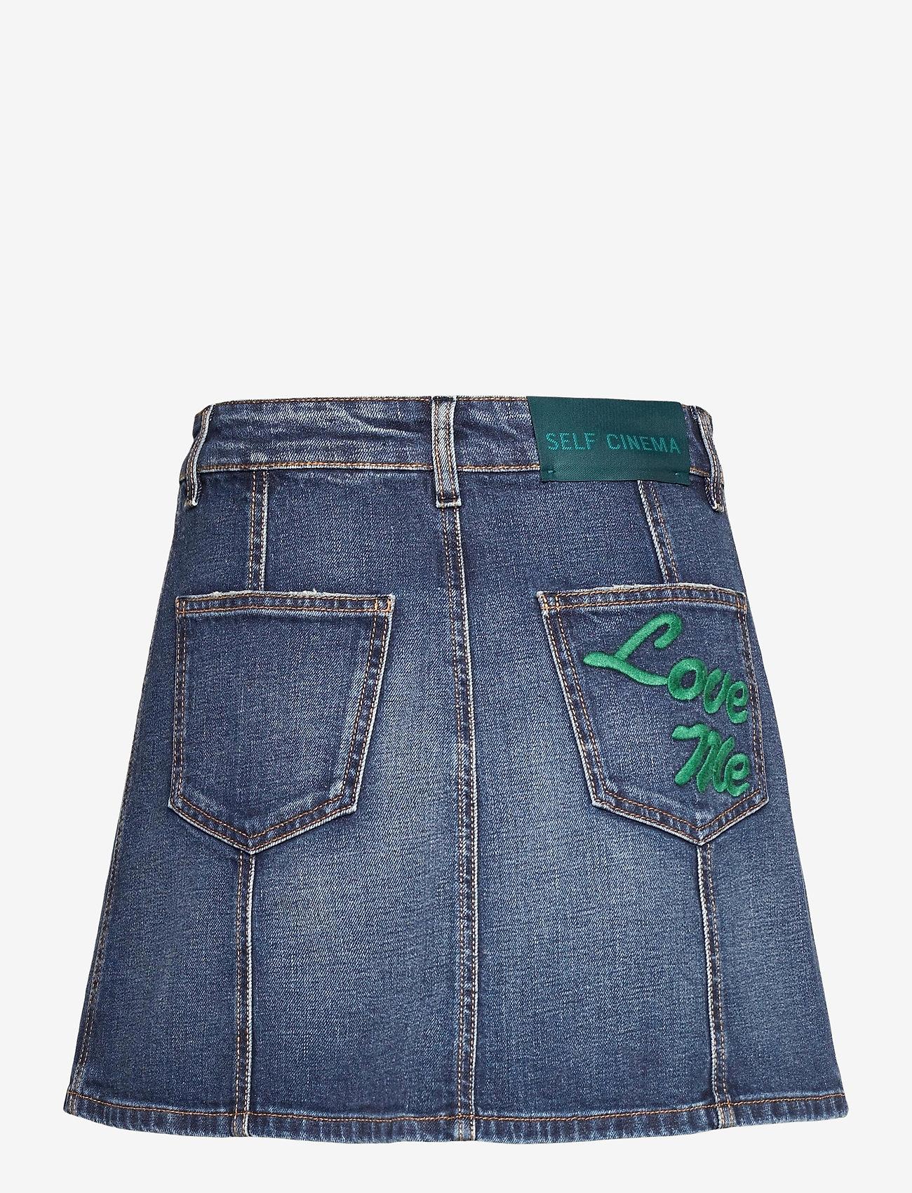 Self Cinema - Womens Denim Skirt Embroidered - jeanskjolar - mid blue vintage - 1