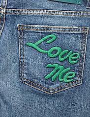 Self Cinema - Womens Slim Straight Jean Embroidered - straight regular - mid blue vintage - 4