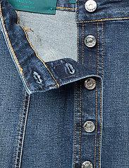 Self Cinema - Womens Denim Skirt Embroidered - jeanskjolar - mid blue vintage - 2