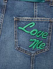 Self Cinema - Womens Denim Skirt Embroidered - jeanskjolar - mid blue vintage - 3