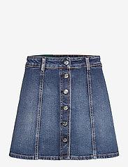Self Cinema - Womens Denim Skirt Embroidered - jeanskjolar - mid blue vintage - 0