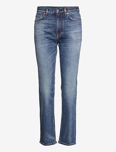 Womens Slim Straight Jean Embroidered - straight regular - mid blue vintage