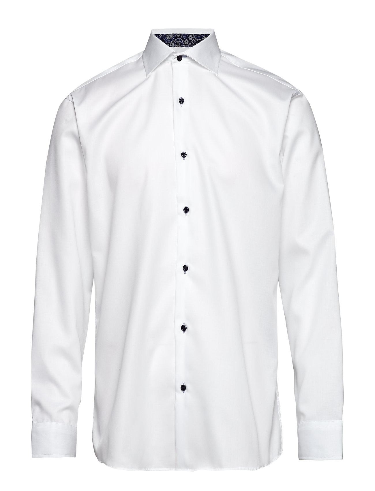 Business skjorte i hvid og mørkeblå twill.