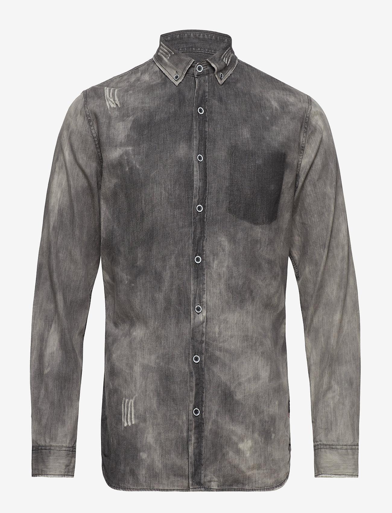 Shine Original - Denim shirt L/S - chemises shirts - black