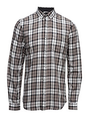 Checked cotton shirtL/S - GREY