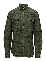 MilitaryprintovershirtL/S - GRASS GREEN