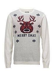 Jacquard merry xmas knit - OFF WHITE