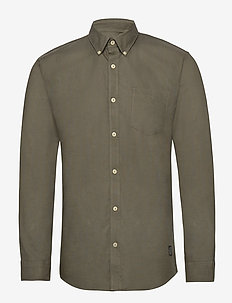 Washed oxford shirt L/S - ARMY