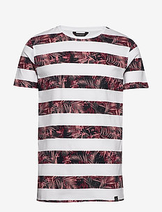 Stripe leaf print tee S/S - short-sleeved t-shirts - white
