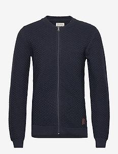Cotton zip through knit - NAVY