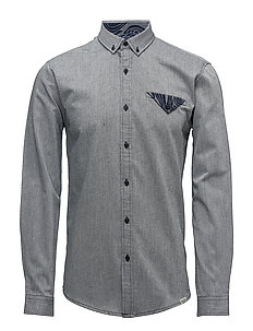 Twill shirt with pocket L/S - GREY