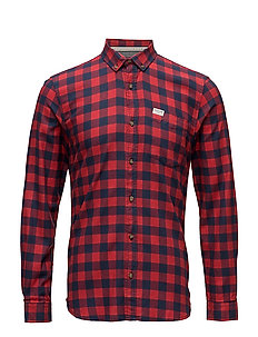 Checked twill shirt L/S - MARS RED