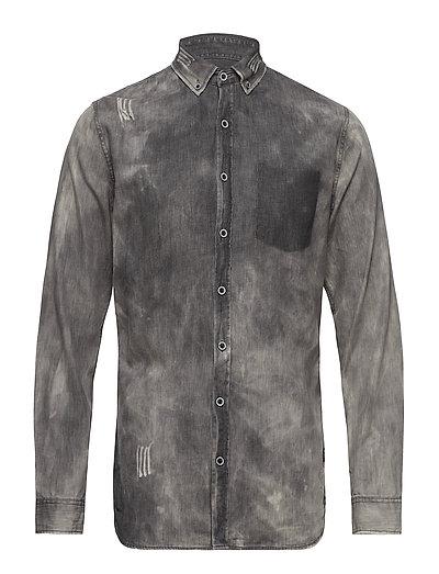Denim shirt L/S - BLACK