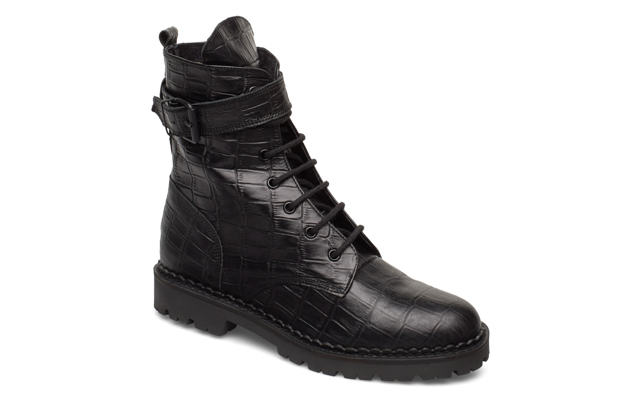 Shoe The Bear HAILEY LACE UP CROCO - BLACK