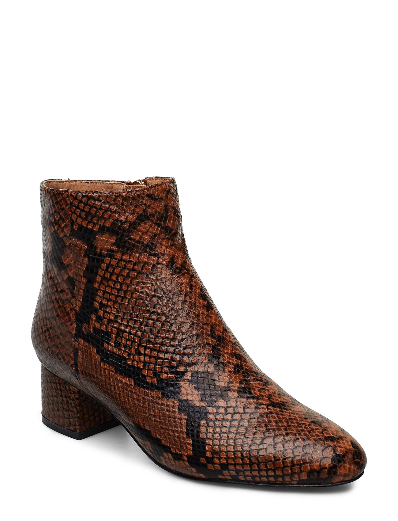 Image of Vicky Snake Shoes Boots Ankle Boots Ankle Boot - Heel Brun Shoe The Bear (3406197697)