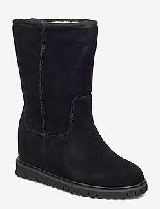 FARA WOOL - lange laarzen - black / black