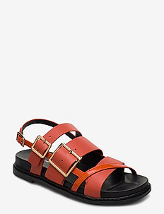 STB-JOY MULTI STRAP L - platta sandaler - coral red
