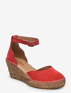 STB-SALOME ANKLE STRAP - heeled espadrilles - coral red