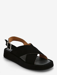 STB-ASTRID CROSS S - platte sandalen - black / black
