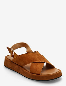 STB-ASTRID CROSS S - platte sandalen - cognac