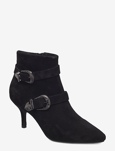 ANN S - ankelstøvler med hæl - black