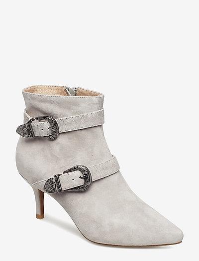 ANN S - ankelstøvler med hæl - light grey